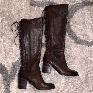 Sofft women's tie up heeled boots brown size 7.